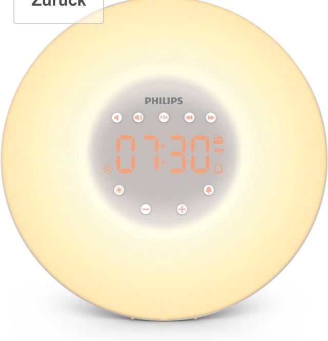 Amazon Philips HF3506/05 Wake-up Light LED, Aufwachen mit Licht, 2 natürlichen Wecktöne, silber