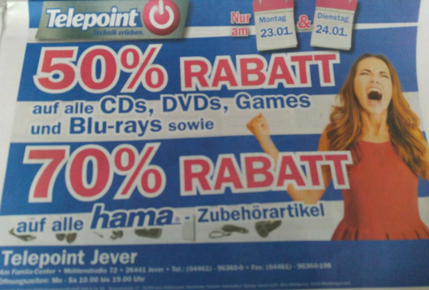 70% auf alle Hama Artikel und 50%Auf alle Spiele und Filme/Tonträger