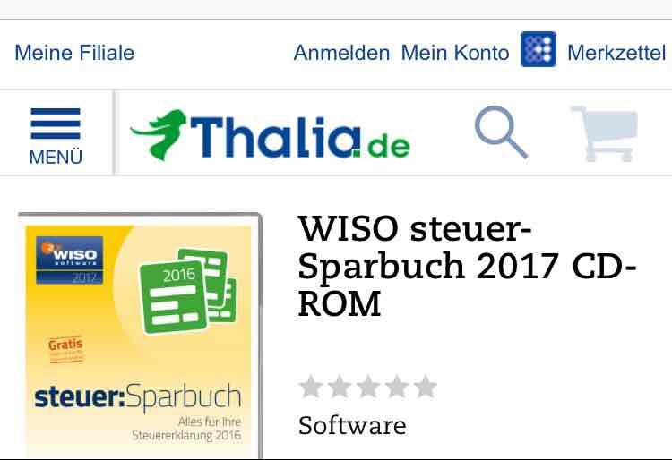 (Thalia) WISO Steuer-Sparbuch 2017 CD-Rom