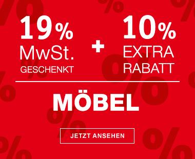 XXXL-Shop 19% Mehrwertsteuer Geschenkt auf Möbel, Küchen, Matratzen, Teppiche, Leutchten & Junges Wohnen