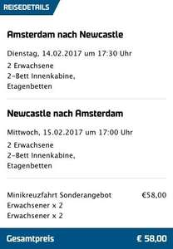 DFDS : Minikreuzfahrt England: Von Amsterdam nach Newcastle und zurück schon für 29€ p.P.