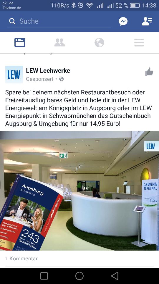 Gutscheinbuch für Augsburg und Land bei LEW in Augsburg für nur 14.95€ statt 25.95€