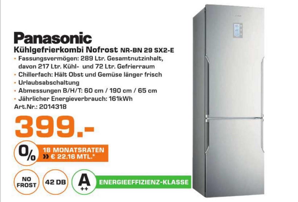 [Lokal Saturn Oldenburg] Panasonic NR-BN29SX2-E NoFrost Kühlgefrierkombi A++