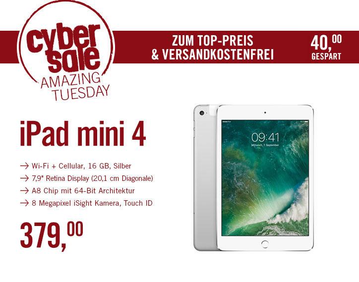 Apple iPad mini 4 Wi-Fi + Cellular 16 GB Silber MK702FD/A für 379€ @ Cyberport