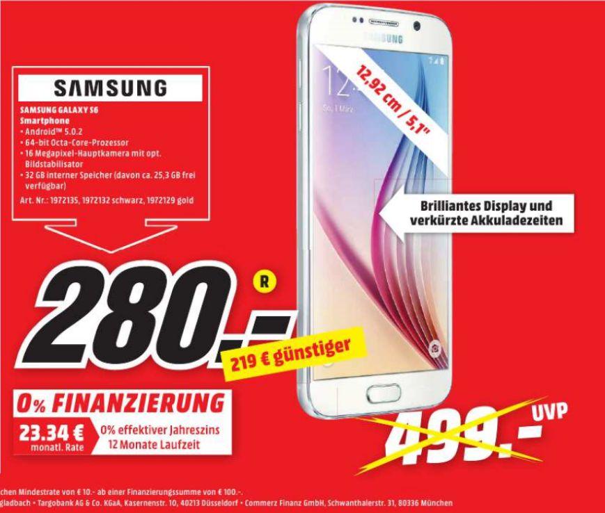 [Lokal Mediamarkt Buchholz in der Nordheide] Samsung Galaxy S6 (32GB) in Schwarz,Weiß oder Gold für je 280,-€