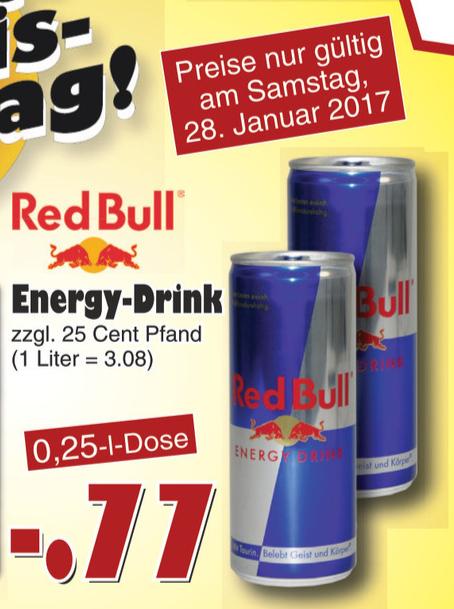 [Jawoll Markt] Red Bull 0,25l für 0,77€ | Offline am 28.01.2017