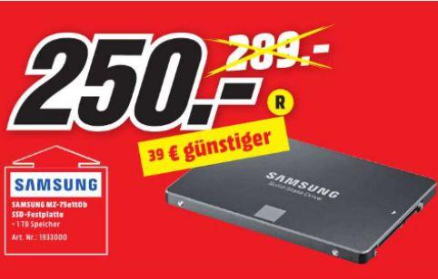 """[Lokal Mediamarkt Peine] Samsung 850 EVO 1 TB SSD SATA III 2,5"""" Festplatte für 250,-€"""