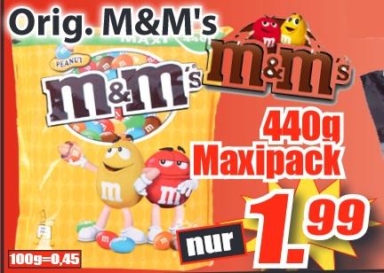 [Magowsky] KW4: M&Ms Peanut 440g Maxipack für 1,99€ (KG=4,52€)