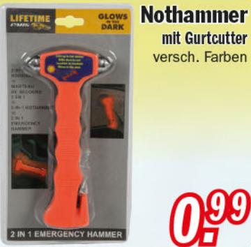 Nothammer mit Gurtcutter (versch. Farben) für nur 0,99€ bei Zimmermann ab 30.01.