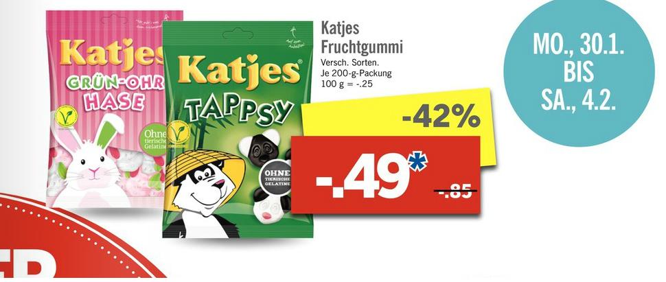 LIDL - Katjes Fruchtgummi - 200-g-Packung für 0,49 €