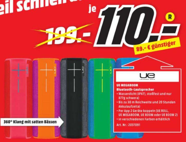 [Lokal Mediamarkt Aalen/Schwäbisch Gmünd/Ellwangen/Heidenheim/Nördlingen] UE MEGABOOM Lautsprecher (Bluetooth, Wasserdicht, Schlagfest)  versch. Farben für je 110,-€