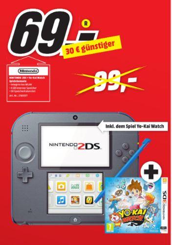 [Lokal Mediamarkt Augsburg] Nintendo 2DS - Spielekonsole (blau) inklusive YO-KAI WATCH (vorinstalliert) für 69,-€