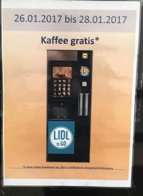 Kostenloser Kaffee LIDL Potsdamer Straße Berlin!