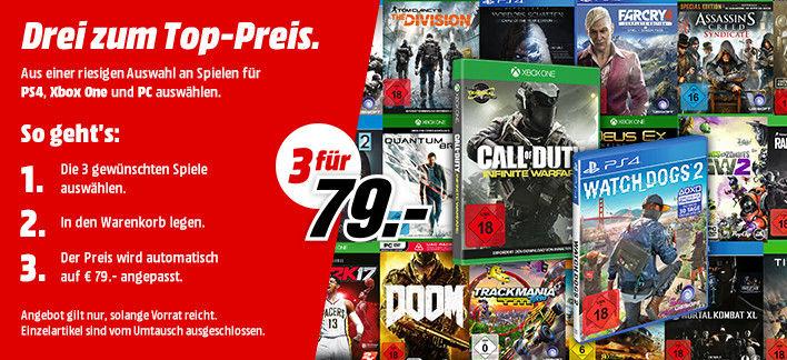 Mediamarkt 3 für 79€ (PS4, XBOX, PC) + evtl. Versand