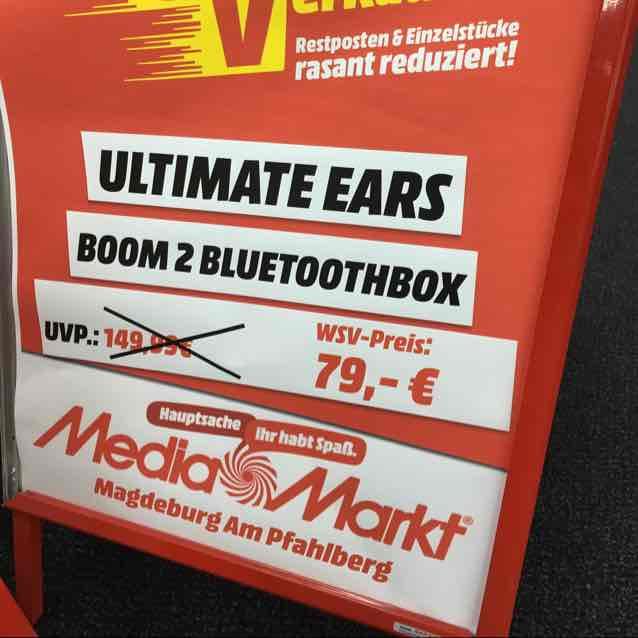 [Lokal MM Magdeburg Pfahlberg] Ultimate Ears Boom 2 Bluetooth Box für 79 Euro