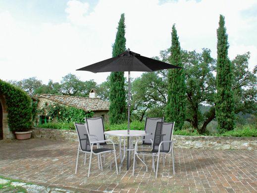 [XXXL online] Gartenmöbel Set 4 Stühle, Tisch und Sonnenschirm  inkl Versand