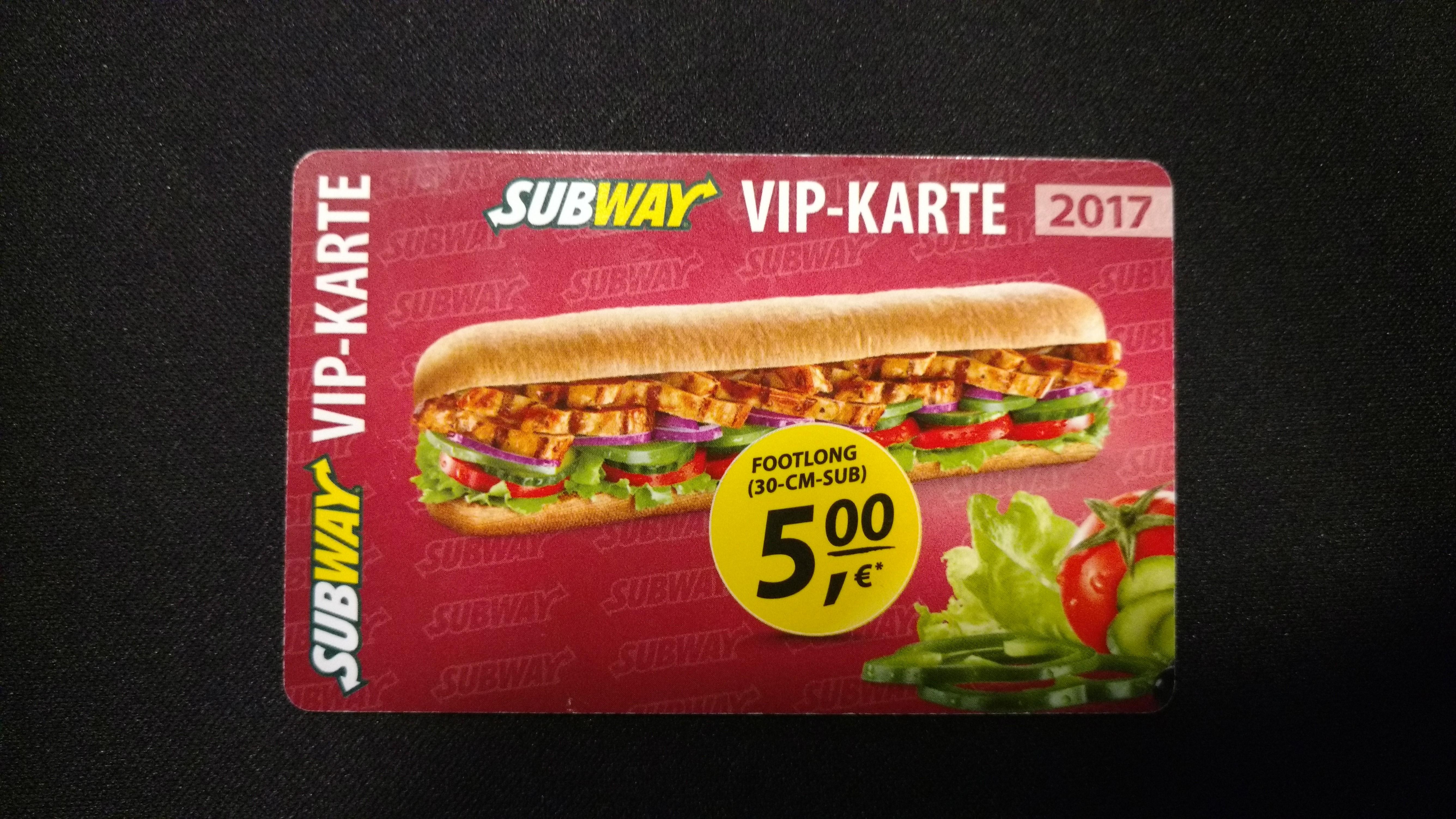 (Lokal Bayern) Subway VIP-Karte