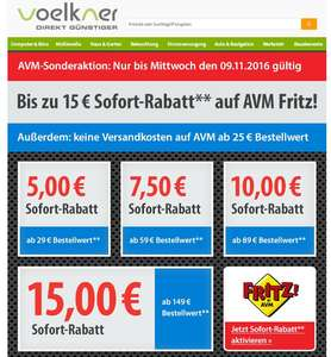 AKTION: Bis zu 15 € Rabatt auf AVM Fritz! // voelkner +ggf. 2% Cashback über Shoop