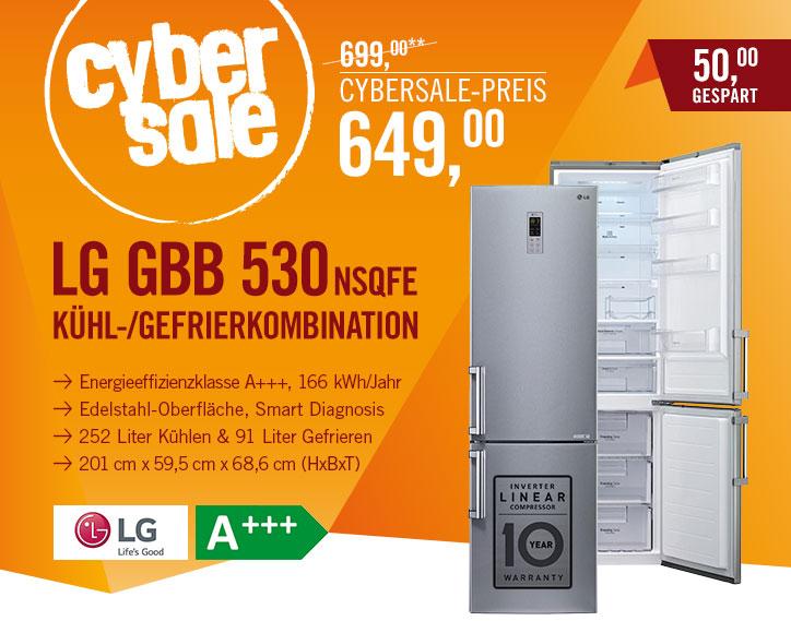 LG GBB 530 NSQFE ab 678,90€ (Bordsteinkante) oder 718,90€ (Aufstellort) @ Cyberport (Idealo 775€) - 2 Meter hohe Kühl-Gefrierkombi mit A+++