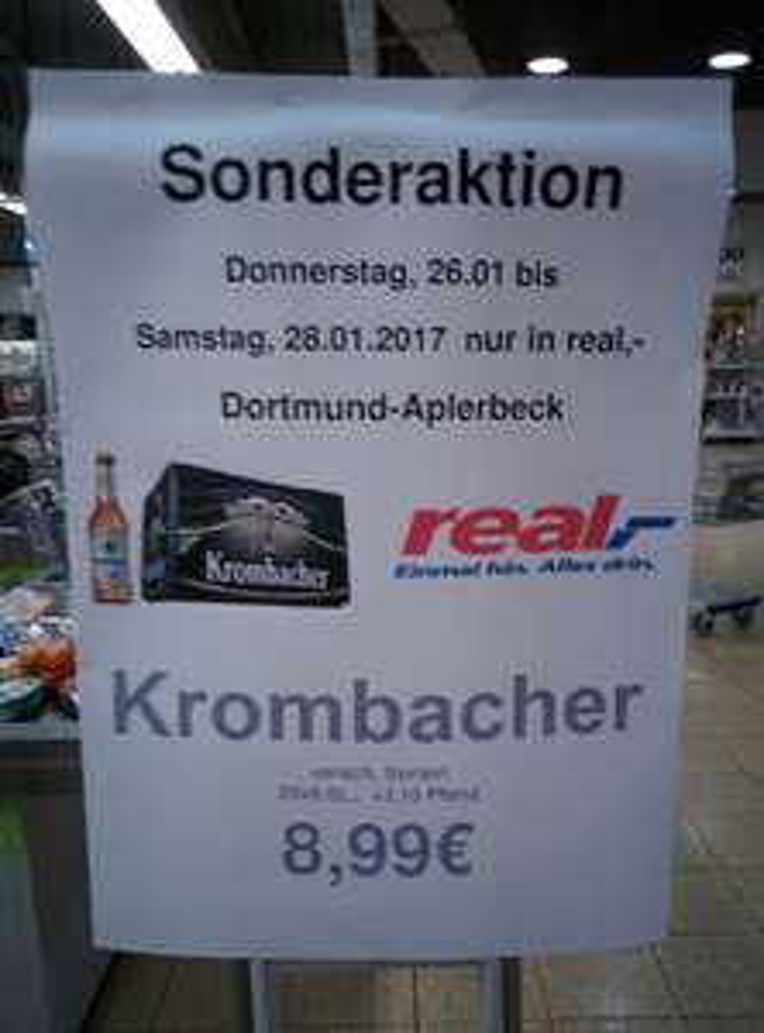 [LOKAL] Krombacher verschiedene Sorten 8,99€ die Kiste im Real Dortmund-Aplerbeck