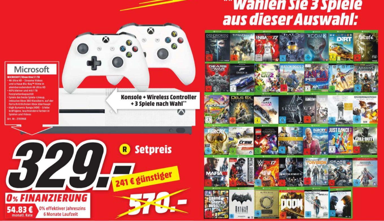 [Lokal Mediamarkt Weiterstadt] Micosoft Xbox One S 1TB Konsole + 2.Controller + 3 Spiele aus der Mediamarkt Aktion für 329,-€