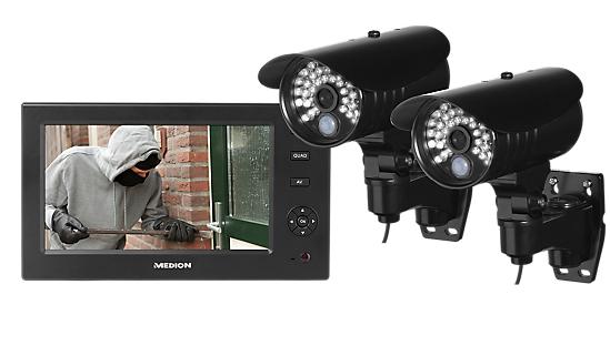 [Medion]  Heimüberwachungsanlagen-Set MEDION® P85029 (MD 87009) Set mit 2 Kameras, LCD Monitor mit eingebautem SD Slot und IP Adapter