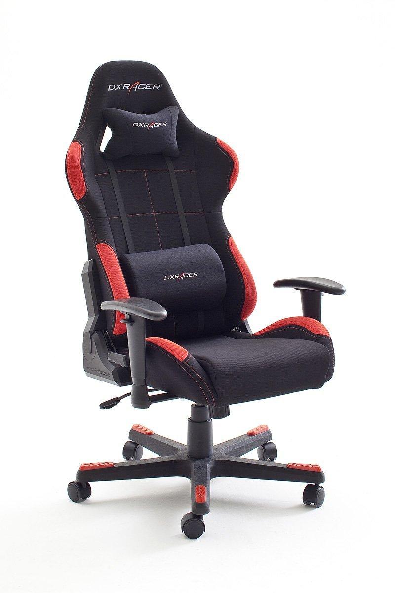DX Racer1 Büro,-Gaming,-Schreibtischstuhl mit Armlehnen und Stoffbezug in schwarz/rot @DC