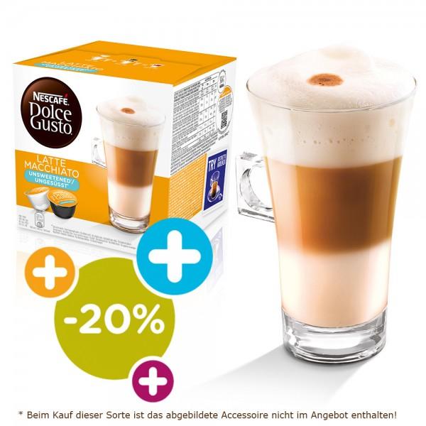 [Dolce Gusto Shop] 4 für 3 Aktion und 20% auf Latte Macchiato ungesüßt, ab 12 Packungen (9+3 gratis) 2,74€ Packungspreis