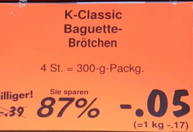 Kaufland Speyer 4 Baguette Brötchen 5 Cent