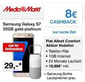 Media Markt Mobilfunk: Allnet+ SMS Flat+ 1GB im D2-Netz für 19,99€ monatlich+ Samsung S7 + Samsung Bottle + 8€ Cashback