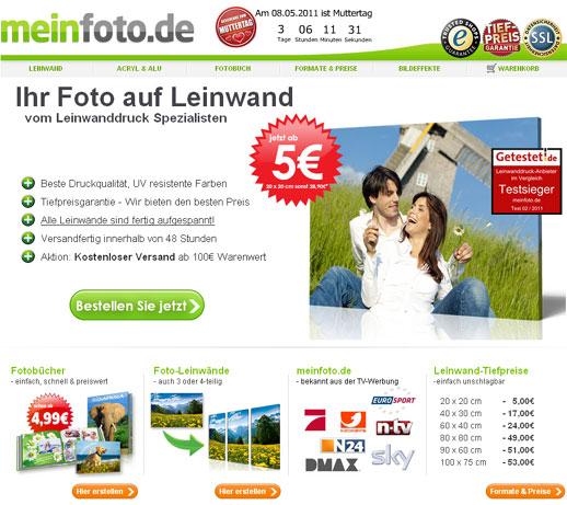 [Meinfoto.de] Ab 4 Leinwände 75% Rabatt,  dadurch Bestpreise, bspw. 20x20 = 1,25 €; 80x60 = 8,73 €