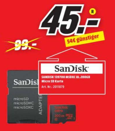 [Lokal Mediamarkt Schiffdorf-Spaden/Wilhelmshaven] SanDisk Ultra microSDXC 200GB, Class 10, UHS-I,bis zu 90MB/?S, + SD Adapter für 45,-€