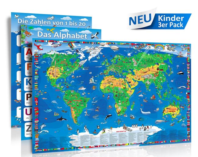 Große Kinderweltkarte (1,35x95cm) + Zahlen Poster + Alphabet Poster für 9,95€ inklusive VSK bei [Amazon]