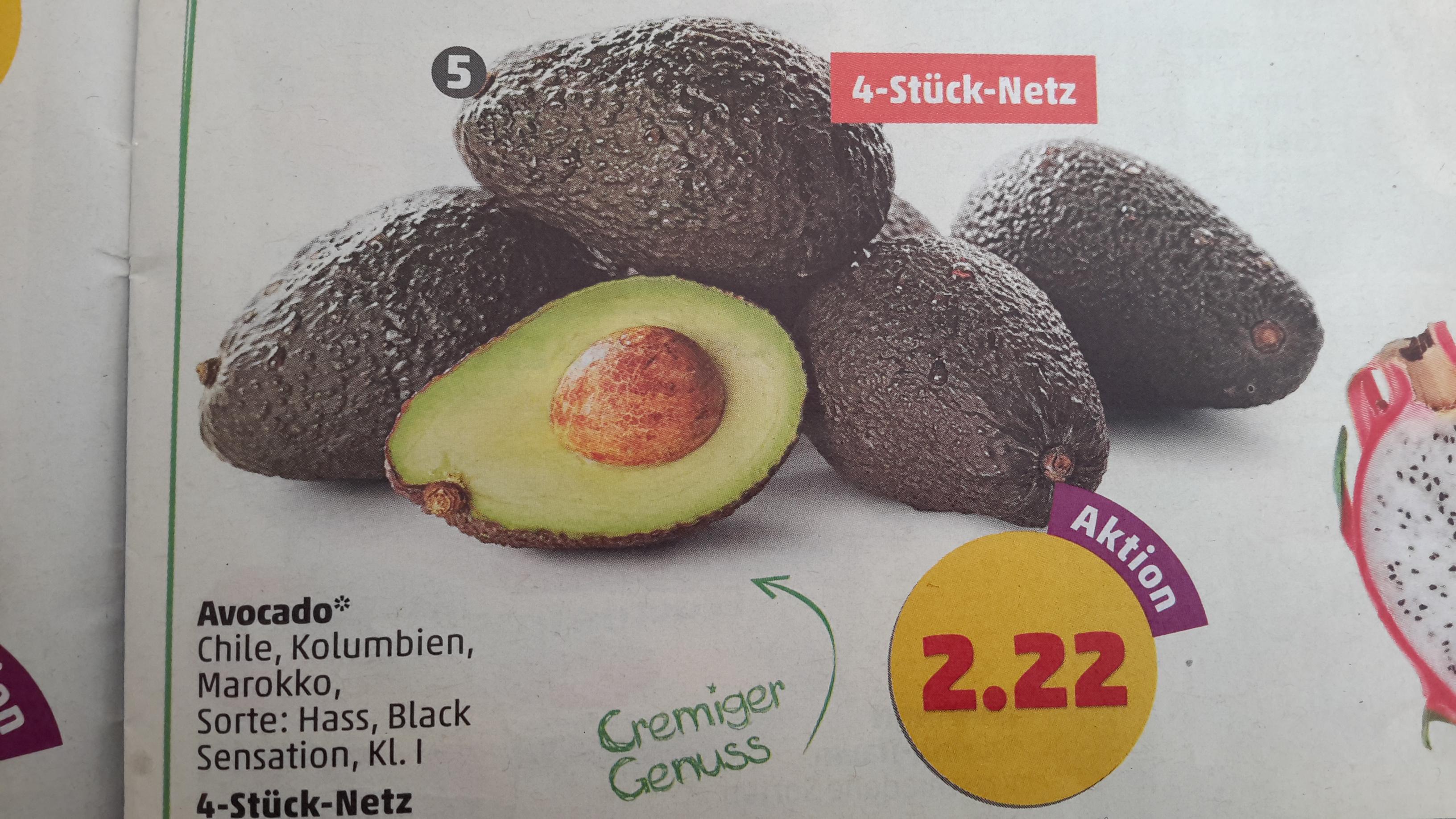 [Penny] Avocado 4 Stück für 2,22 € ab 30.01.17