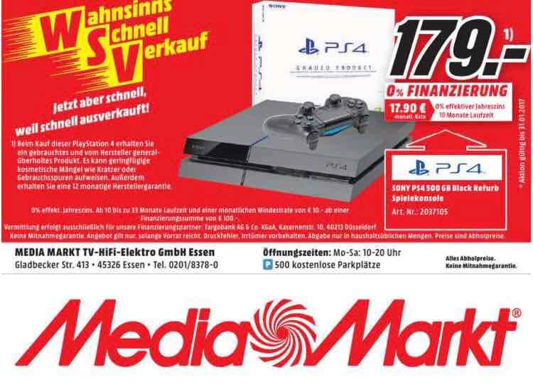 [Lokal] MediaMarkt in Essen PS4 500GB REFURBISHED