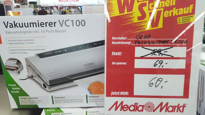 [Lokal MediaMarkt Emden] CASO VC100 Vakuumierer