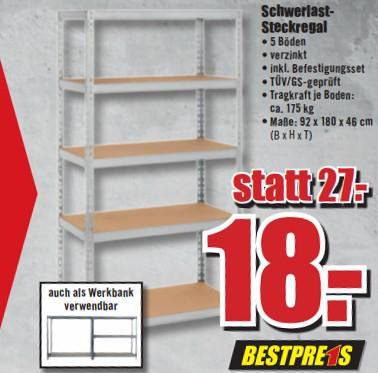 Schwerlast-Steckregal (auch als Werkbank verwendbar) für 18€ bei B1 Discount Baumarkt (offline /  01.02.2017)