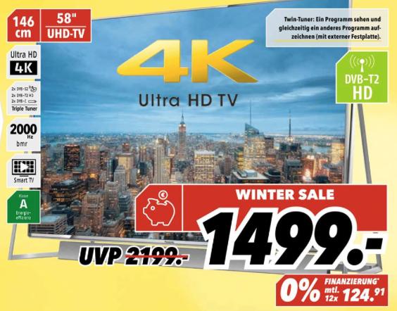 [Medimax Hannover Döhren] Panasonic TX-58DXW804 für 1499€ (Idealo 1979€) 4K, HDR, 120hz, 3D