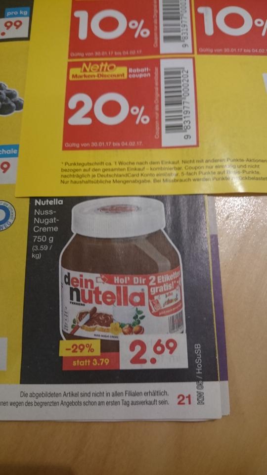 [Lokal] Netto MD Do 02.02 bis Sa. 04.02. EIN Glas Nutella 750g für €2,15 (=2,87/Kg)