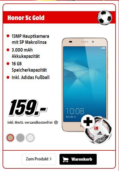 """[Mediamarkt] Huawei Honor 5c [13,2cm (5.2"""") Full-HD-IPS-Display, Android 6.0, 2GHz Octa-Core, 13MP Kamera, Hybrid-SIM] in 3 Farben + Adidas Fußball für 159,-€ Versandkostenfrei"""