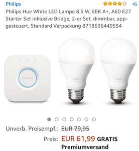 Philips Hue White LED Lampe 8.5 W, EEK A+, A60 E27 Starter Set inklusive Bridge, 2-er Set