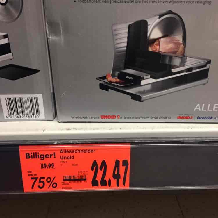 Elektrischer Allesschneider von 89,99 auf 22,47 75% Rabatt in HH-Bramfeld