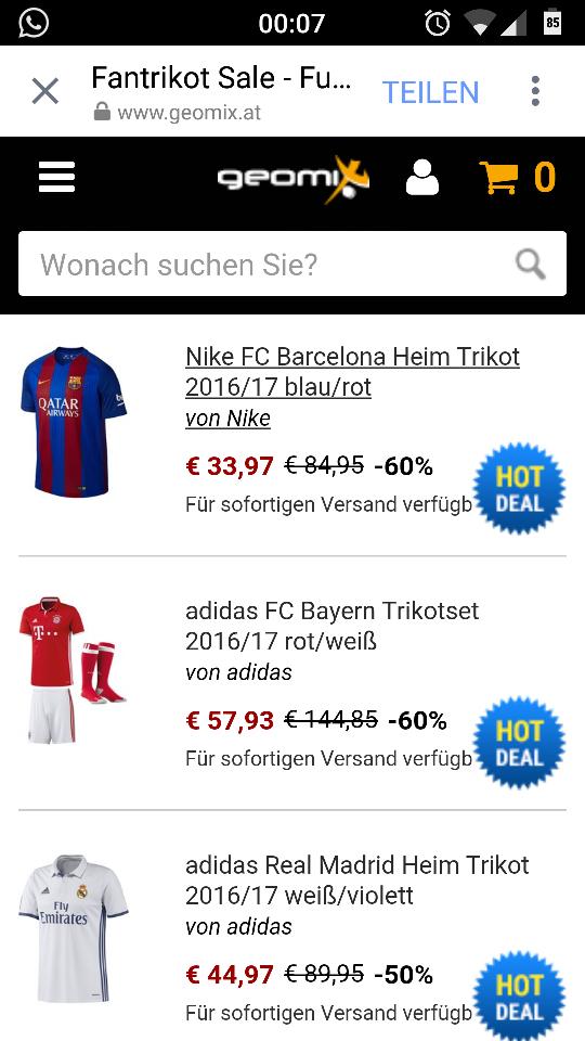 Viele Trikots von Top- Clubs (16/17) ab 34 Euro