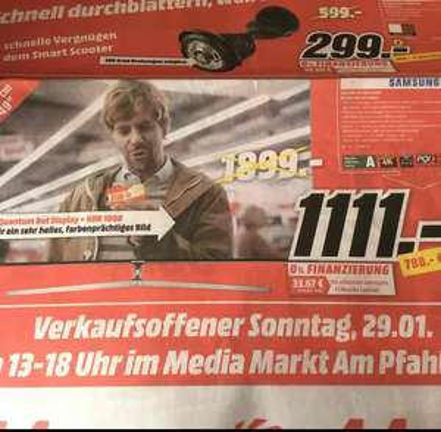 [Lokal MM Magdeburg Pfahlberg] Samsung UE49KS8090 4K LED-TV für 1111 Euro