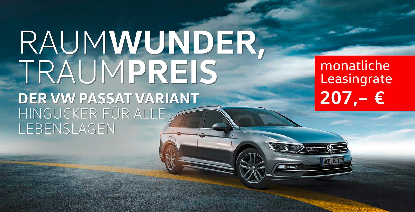 VW Passat Varinat 2.0 TDI DSG Leasing 0,14% 36 Monate ohne Anzahlung 10TKM pro Jahr für 230 € inkl. MwSt. monatlich