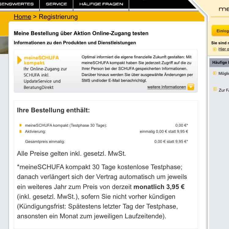 Schufa Auskunft 30 Tage kostenlos Testen, statt sonst 9,95 Euro im ersten Monat