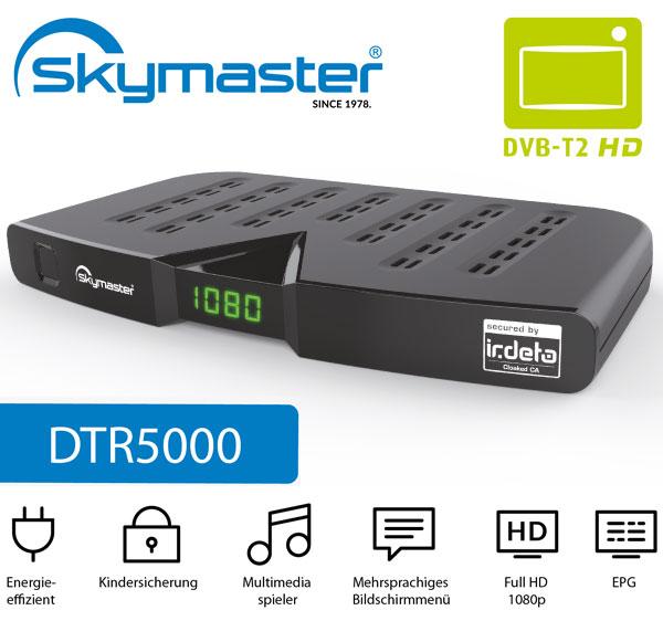 Skymaster DTR5000 DVB-T2 Receiver Freenet TV 52,62€ statt 59,99€ mit CODE: JANUAR12