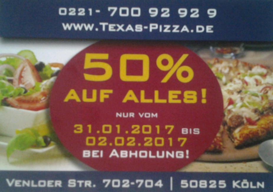 (lokal Köln) 50% auf alles bei Abholung, bei Texas Pizza