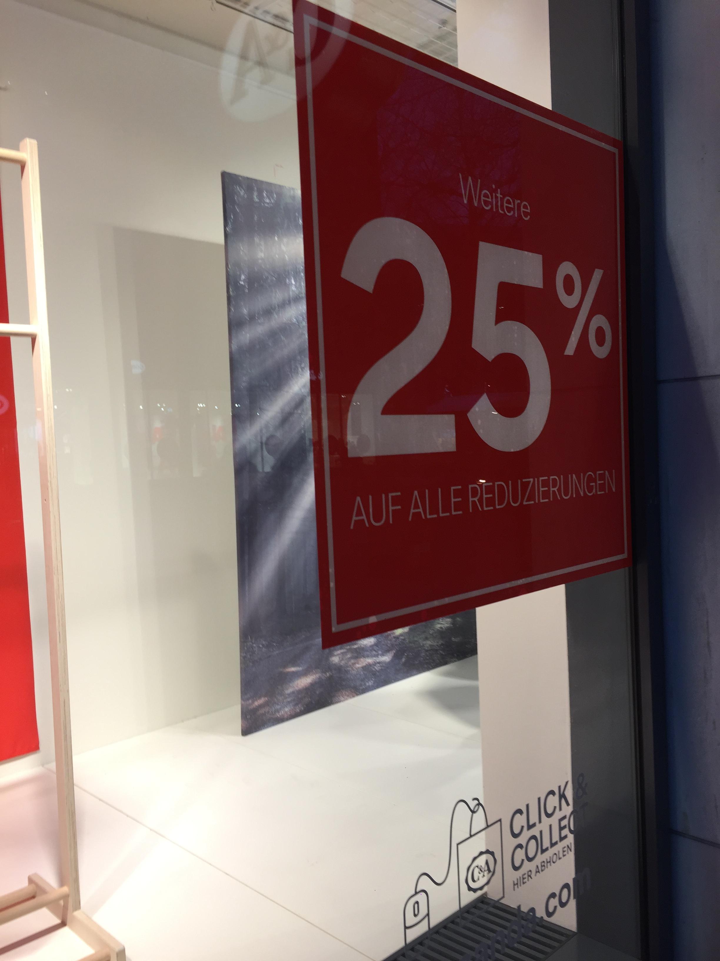 WSV bei C&A - 25% auf bereits reduzierte Ware (offline)