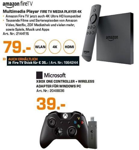 [Lokal Saturn Hamburg u. Norderstedt] Microsoft Xbox One Controller + Wireless Adapter für Windows für 39,-€***Amazon Fire TV Box 4K Ultra HD 8GB Speicherplatz 2GB Arbeitsspeicher für 79€